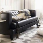 black leather sofa settee